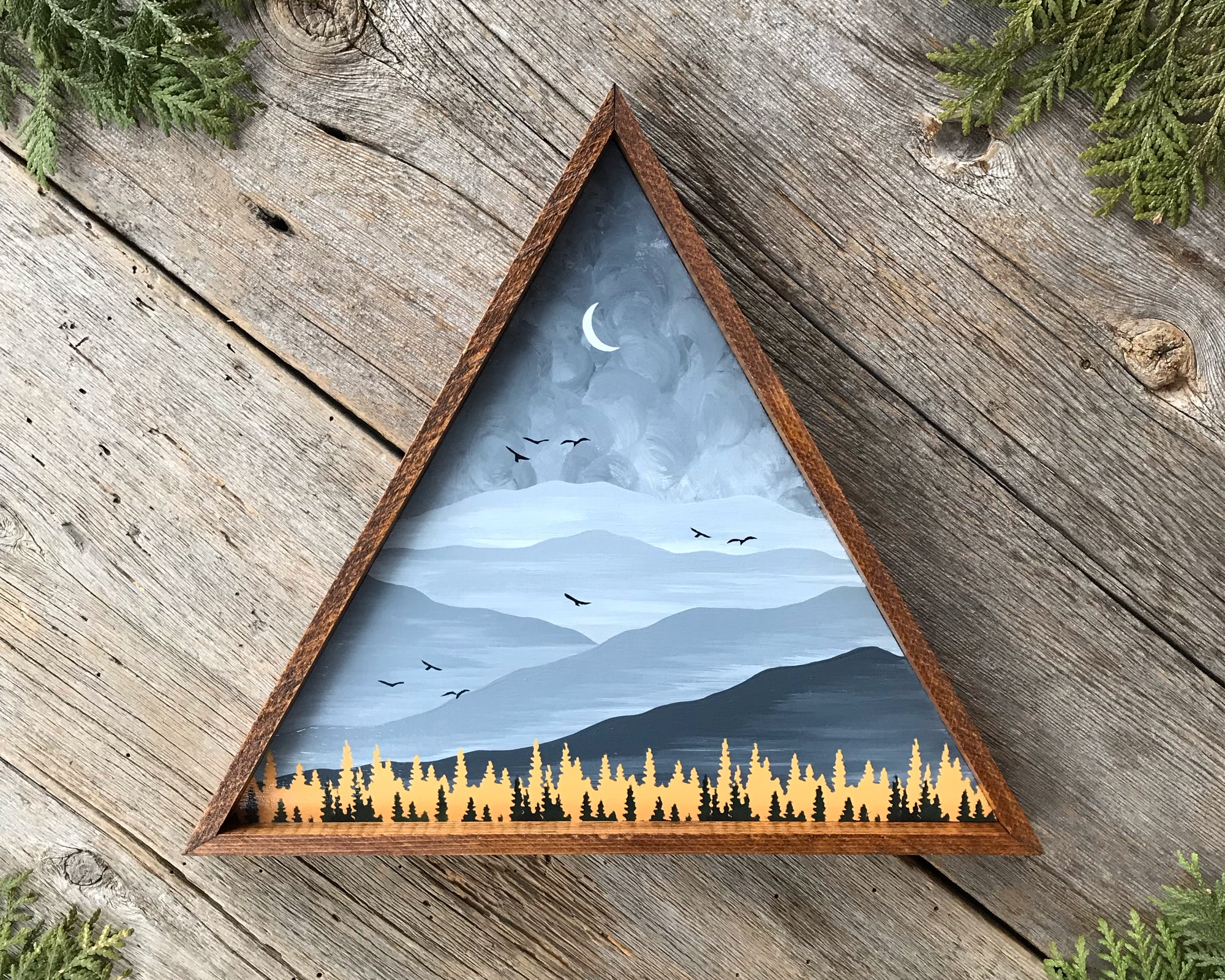 Mountain Wall Art, Triangle Decor, Mountain Peaks, Rustic Style Home Decor