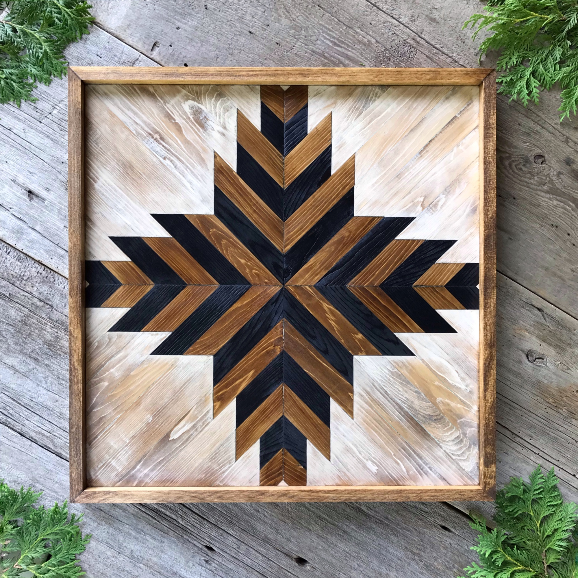 Wood Wall Art, Geometrical Patterns, Tribal Aztec, Wooden Wall Decor