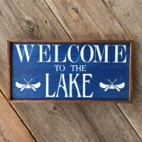 Welcome to the Lake, Wood Sign, Stenciled Signs, Outdoor Signs, Lake and Cabin Signs, Wall Art, Crow Bar D'signs