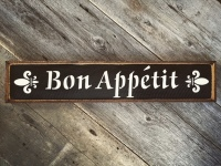 Bon Appetit, Handmade Wood Signs, French Country Decor, Cottage Style Decor, Fleur de lis, Kitchen Signs and Decor, Crow Bar D'signs