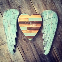 Turquoise Wall Decor, Rustic Heart and Angel Wings, Boho, Bohemian Wall Decor, Cottage Style Decorating Ideas, Pieced Wood Wall Art, Handmade Wall Art, Heart and Wings, Home Decor for the Rustic Country Home, French Country Style Decor