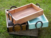 Horse and Equine Decor, Country Wedding Decor Ideas, Western Home Accents, Tabletop Trays, Decorative Wood Trays, Horseshoe Handles, Handmade Wood Boxes, Home Organizing Ideas, Wood Storage Boxes