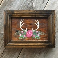Woodland Decor, Handmade Wall Decor, Nature Inspired Wall Art, Floral Wall Decor, Woodland Inspired Decor Ideas, Antlers and Flowers, Rustic Decorating Ideas, Salvaged Barn Wood Decor, Reclaimed Wood Wall Art