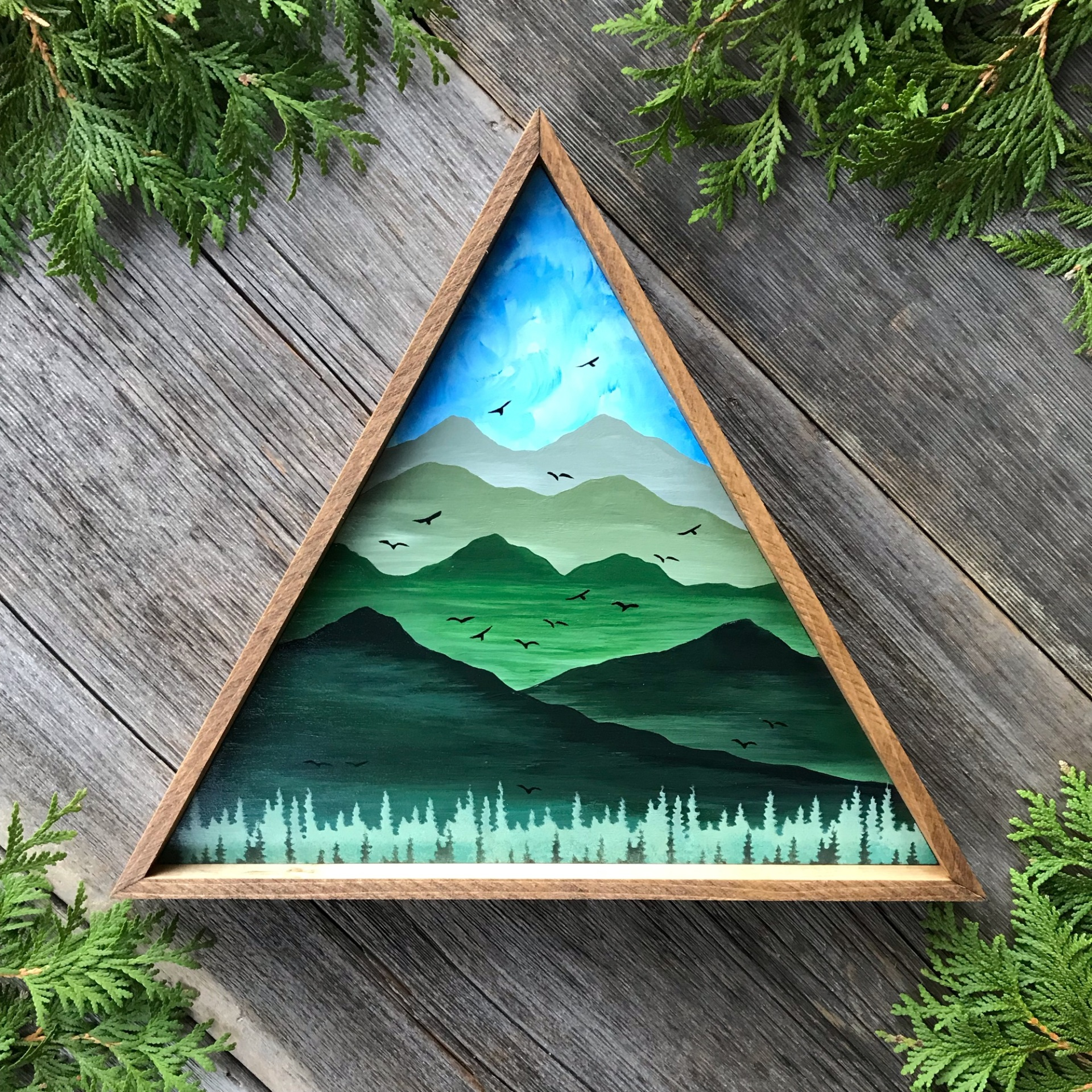 Mountain Wall Art, Mountain Landscape Painting, Rustic Mountain Decor